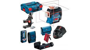 Лінійний лазерний нівелір Bosch GLL 3-80 C в L-Boxx 136 з приймачем LR 7, тримачем BM 1, мішенню, чохлом, 1 акб GBA 12V 2.0 Ah та з/п GAL 1230 CV