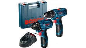 Набір 12 V інструментів Bosch шурупокрут GSR 120-Li та гайкокрут GDR 120-LI в чемодані з акб GBA 12V 1,5 Ah та з/п GAL 1215 CV