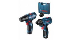 Набір інструментів Bosch Professional дриль-шурупокрут GSR 120-LI + ударний гайковерт GDR 120-LI у валізі з 2 акб GBA 12V по 2.0Ah і з/п