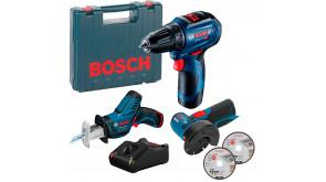 Набір трьох 12V інструментів Bosch Professional GSR 12V-30, GSA 12V-14, GWS 12V-76 з 2 акб GBA 12V 2Ah та з/п 12V-40