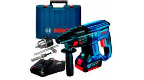 Акумуляторний безщітковий перфоратор Bosch Professional GBH 180-Li в чемодані, 1 акб GBA 18V 4.0Ah, з/п GAL 18V-40 та зубчастим патроном