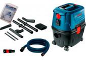 Будівельний пилосос Bosch Professional GAS 15 PS із кутовою, щілинною насадками, багаторазовим мішком