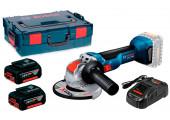 Акумуляторна кутова шліфмашина Bosch Professional GWX 18V-10 з 2 АКБ 18V 5A/h, з/п GAL 1880 CV та кейсом L-BOXX 136