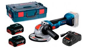 Акумуляторна кутова шліфмашина Bosch GWX 18V-10 Professional з 2 АКБ 18V 5A/h, з/п GAL 1880 CV та кейсом L-BOXX 136