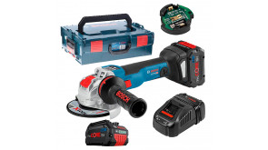 Кутова шліфмашина Bosch GWX 18V-10 SC з регулюванням в L-Boxx 136 з 2 акб ProCORE18V 8.0Ah, з/п GAL 1880 CV та Bluetooth модулем GCY 30-4