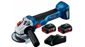 Акумуляторна безщіткова кутова шліфмашина Bosch GWS 18V-10 Professional з 2 акб GBA 18V 4.0Ah та з/п GAL 18V-40