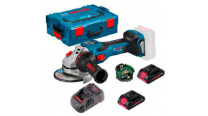 Акумуляторна кутова шліфмашина Bosch GWS 18V-15 SC Professional з регулюванням в L-Boxx 136 з Bluetooth модулем GCY 42, 2 акб ProCORE 18V 4.0Ah, з/п GAL 1880 CV