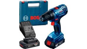 Акумуляторний дриль-шурупокрут Bosch GSR 180-Li в чемодані з 2 акб GBA 18V 1,5 Ah та з/п AL 1814 CV