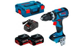 Безщітковий акумуляторний ударний шурупокрут Bosch GSB 18V-60 C в L-Boxx 136 з 2 акб GBA 18 V 5,0 Ah та з/п GAL 1880 CV