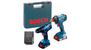 Дриль-шурупокрут Bosch GSR 180 Li з гайкокрутом GDX 180 Li в чемодані з 2 акб 18 В 1,5 Ah та з/п AL 1820 CV