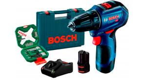 Безщітковий шурупокрут Bosch Professional GSR 12V-30 в чемодані з 2 акб GBA 12V 2 Ah,  з/п GAL 12V-40, набором 34 насадок