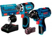 Акумуляторний шурупокрут Bosch Professional GSR 12V-15 FC з GDR 120-LI в L-Boxx 102 з 2 акб GBA 12V 2,0 Ah та з/п GAL 12V-40