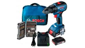 Безщітковий акумуляторний дриль-шурупокрут Bosch GSR 18V-50 Professional в  сумці з 2 акб 2 Ah, з/п GAL 18V-20, набором 43 насадок для загвинчування