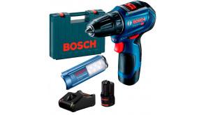 Безщітковий шурупокрут Bosch GSR 12V-30 Professional в чемодані з 2 акб GBA 12V 2 Ah, з/п GAL 12V-40 та ліхтариком GLI 12V-300