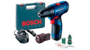 Акумуляторний дриль-шурупокрут Bosch Professional GSR 120-LI в чемодані з 2 акб 2 Ah, з/п GAL 1210 CV та набором з 24 біт