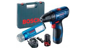 Акумуляторний дриль-шурупокрут Bosch GSR 120-LI з ліхтарем GLI 12V-300 в чемодані з 2 акб GBA 12V 2 Ah та з/п GAL 1210 CV