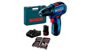 Безщітковий шурупокрут Bosch Professional GSR 12V-30 в чемодані з 2 акб GBA 12V 2 Ah, з/п GAL 12V-40 та набором насадок для закручування 43 шт