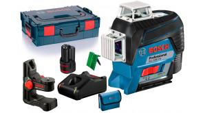 Лінійний лазерний нівелір Bosch Professional GLL 3-80 CG в L-Boxx 136, з тримачем BM 1, мішенню, чохлом, 1 акб 12V 2Ah та з/п GAL 12V-40