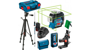 Лазерний нівелір Bosch GLL 3-80 CG Super SET в L-Boxx 136, з тримачем BM 1, приймачем LR 7, рейкою GR 240, штативом BT 150, 1 акб 12 V 2Ah, з/п